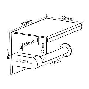 Porte papier toilette avec étagère avec plateforme de rangement porte rouleau