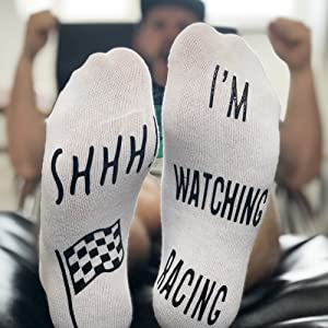 Racing novelty socks watching f1 grand prix formula one gift present for him dad brother funny gift