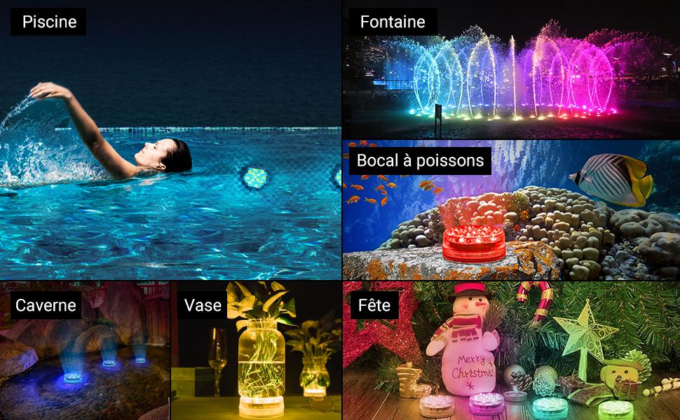 Piscine Ventouse 2 Pcs Spa LOFTEK Lampe Piscine 16 Couleurs Lumi/ères LED Submersibles /Étanche avec Aimant Baignoire Vase Aquarium Fontaine /Éclairage de D/écoration pour Maison Jardin