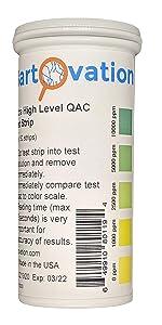 very high level quat qac 10000 ppm vial  quaternary ammonia test strip