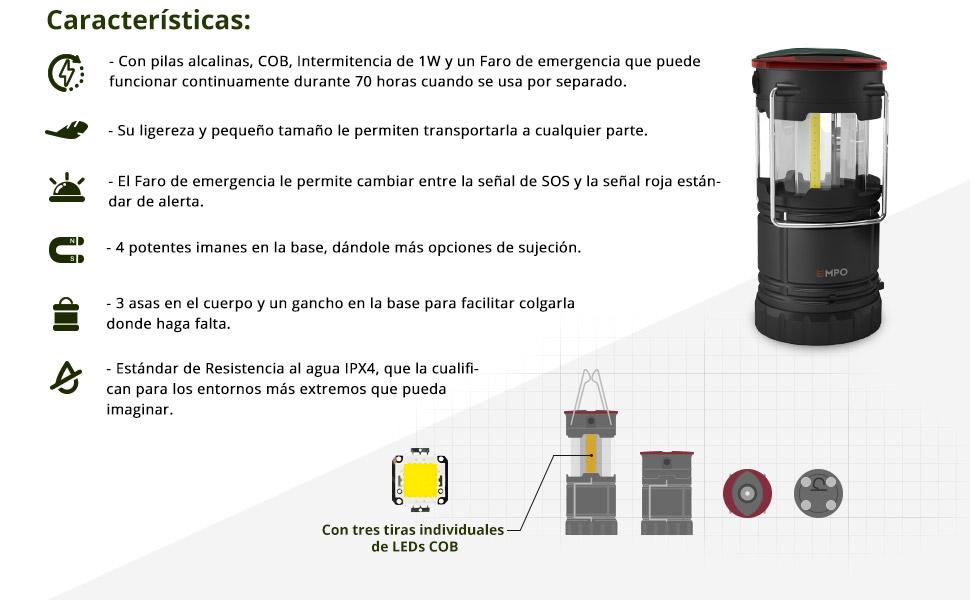 Irypulse LED Camping Linterna L/ámpara Port/átil Luz de Emergencia Ultraligero Brillante Impermeable Base Magnetica USB Recargable Bateria Cargada Ideal para Camping Senderismo Pesca Emergencia