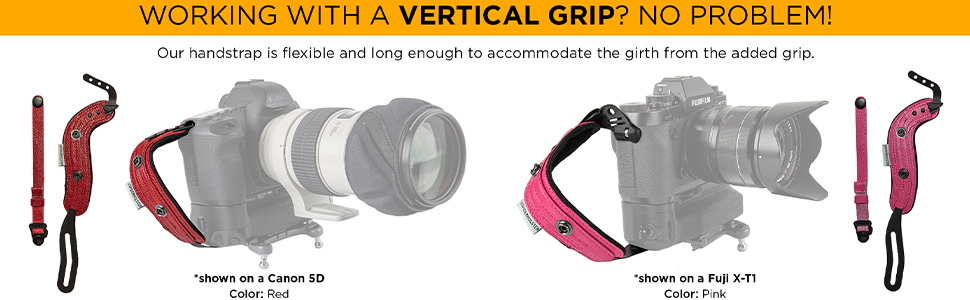 SpiderPro Hand Strap v2 is compatible with vertical grips on DSLR and Mirrorless camera bodies.
