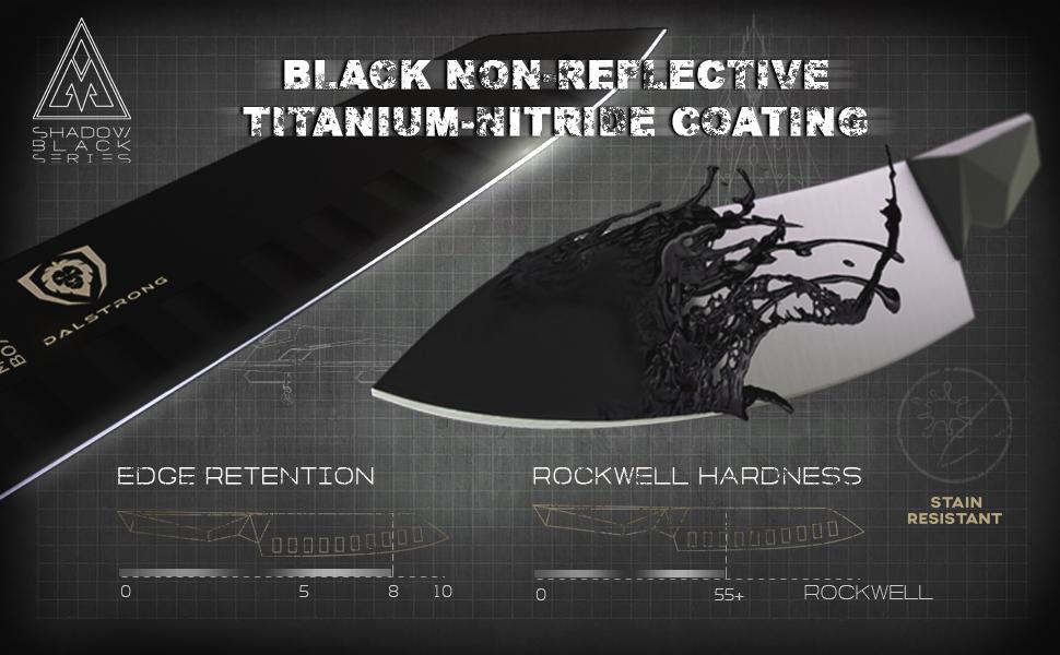 dalstrong chef knife shadow black series block set german steel titanium coated santoku paring utili