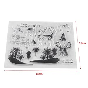 SOONHUA Silicone Stamps,Clear Stamp Scrapbook Photo Cards Postcards Rubber Seal Silicone Stamps for Card Making and DIY Scrapbooking Journaling,14x18cm