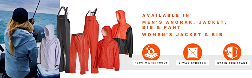 Grundens Neptune available in jacket, bib, and pant features