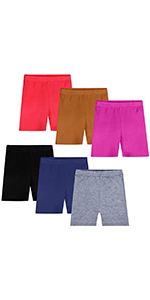 Auranso Girls Dance Shorts Solid Color Breathable Bike Shorts Pack of 6