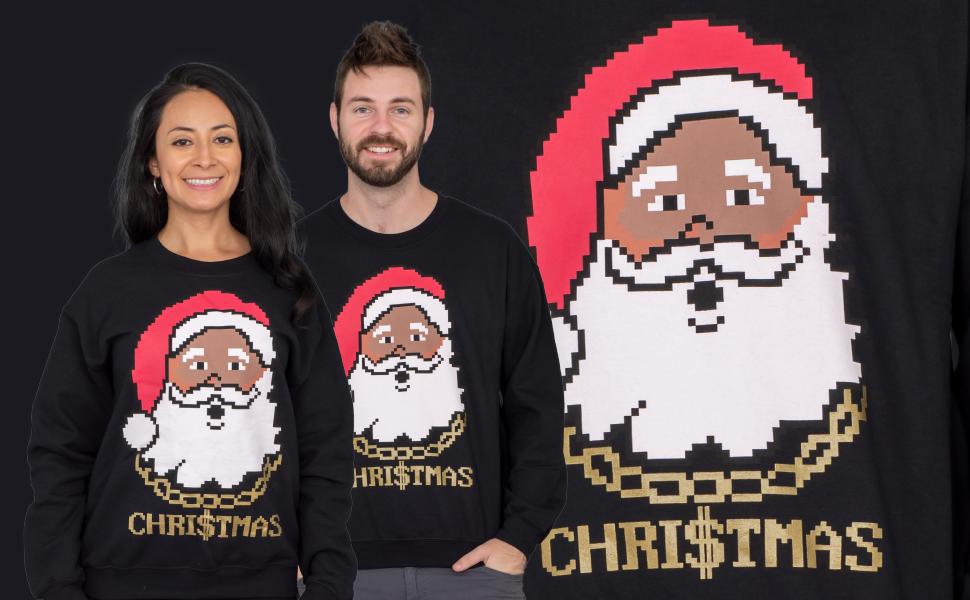 Costume Agent Black Santa with Chain Adult Black Ugly Christmas Sweatshirt