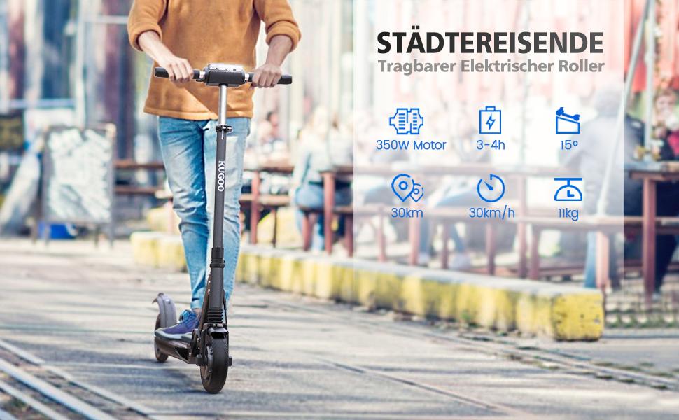 30km Laufleistung Faltbarer E Scooter f/ür Jugendliche Und Erwachsene 350W Motor Geschwindigkeit 30km//h urbetter Elektro Scooter