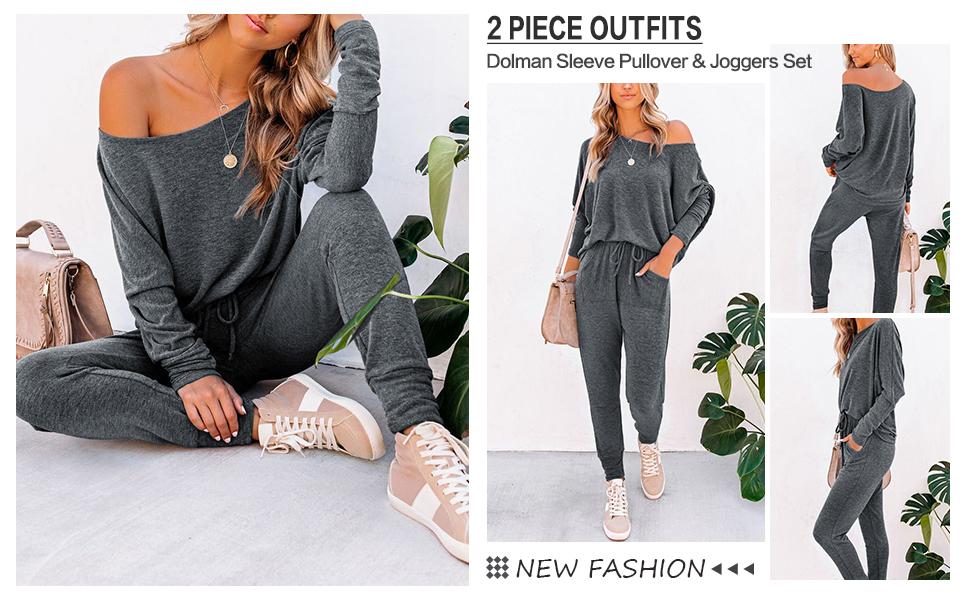 LOGENE Womens Two Piece Outfits Sweatsuits Long Sleeve Pullvoer Sweatshirt and Long Pants Lounge Set