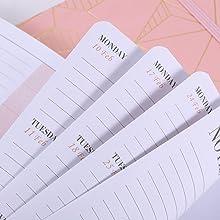 Agenda 2020 2021 A5 Semana para ver Agenda acad/émico 2020 2021 con Pen Loop y papeles gruesos bolsillo interior y p/áginas de notas