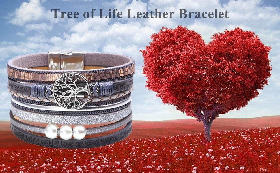 tree of life leather cuff bracelet