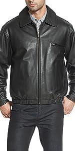 """BGSD Men's """"Aaron"""" Classic Zip-Front Cowhide Leather Bomber Jacket"""