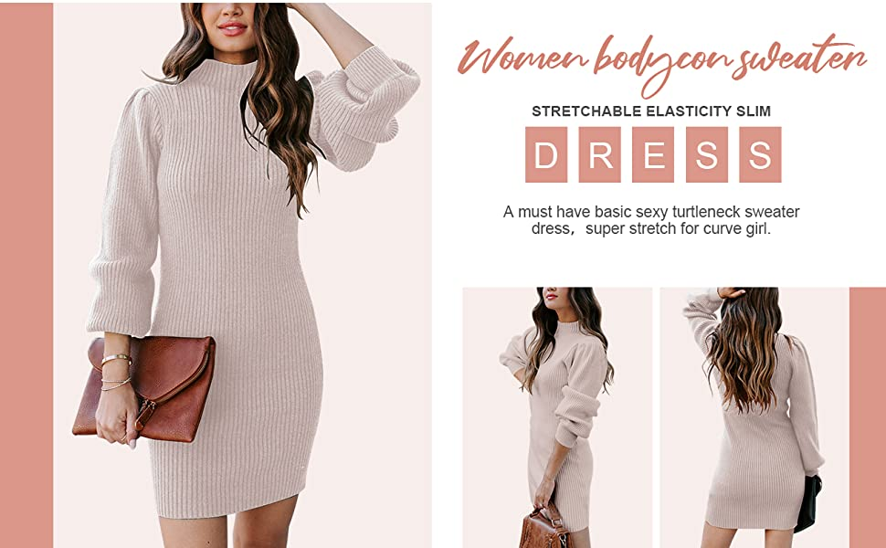 WOMEN TURTLENECK SWEATER BODYCON MINI DRESS