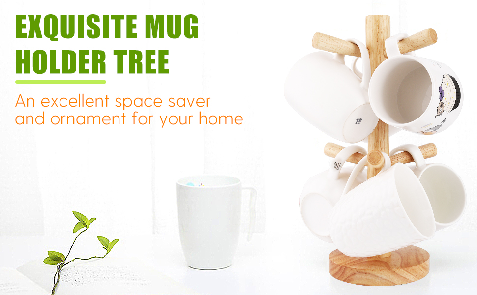 Wooden Mug Tree Mug Hook Mug Storage Coffee Cup Mug Tabletop Holder SL