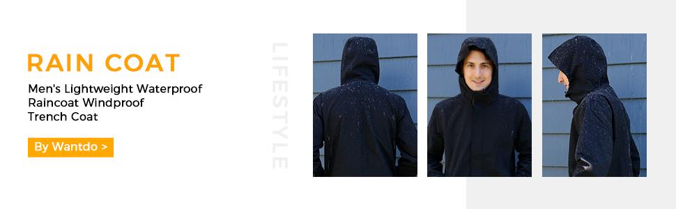 Wantdo Men's Waterproof Rain Jacket