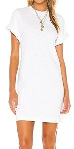 Women's Stretchy Short Sleeves T-Shirt Dress Cotton Round Neck Casual Mini Dress Juniors Dress Top