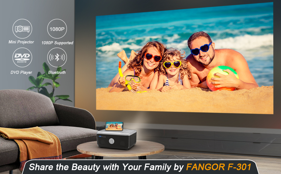 Portable mini projector with dvd player