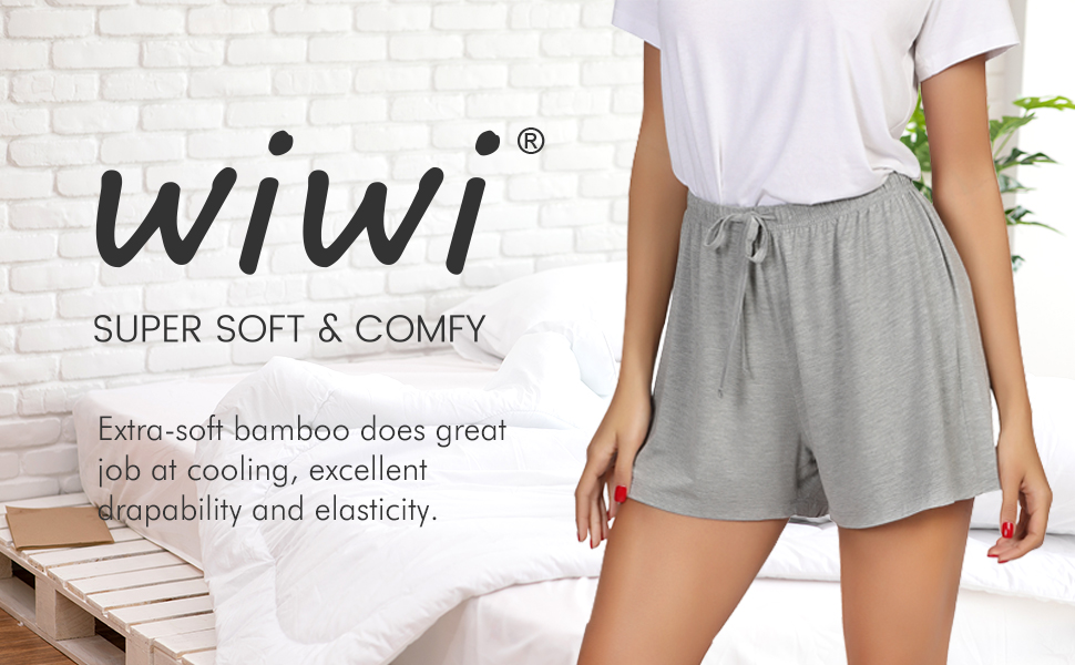WiWi Womens Bamboo Pajama Shorts Soft Casual Boxer Sleepwear Lightweight Sleep Bottoms Plus Size Shorts S-4X