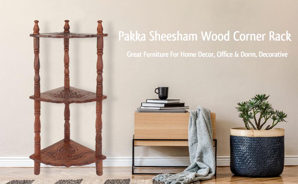 ADA Handicraft Pakka Sheesham Wood 3-Tier Mini Corner Rack Side Table Home Decor