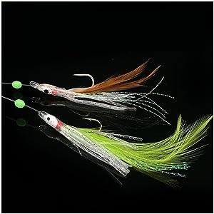 2 Packs Shrimp Sabiki 5 Hooks Saltwater Lumious Lures Baits Bass Mackerel Sz12
