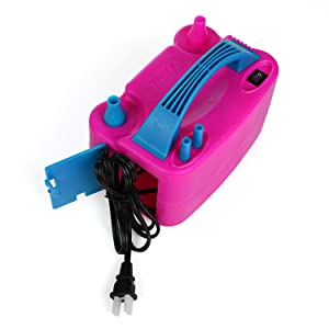 Toyshine Portable Dual Nozzle Rose Red Electric Balloon Blower Pump Inflator for Decoration