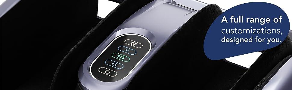 Control panel to adjust massage functions