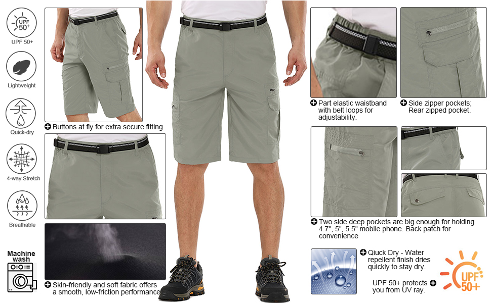 Men's Casual Expandable Waist Lightweight Water Resistant Quick Dry Cargo Fishing Hiking Shorts