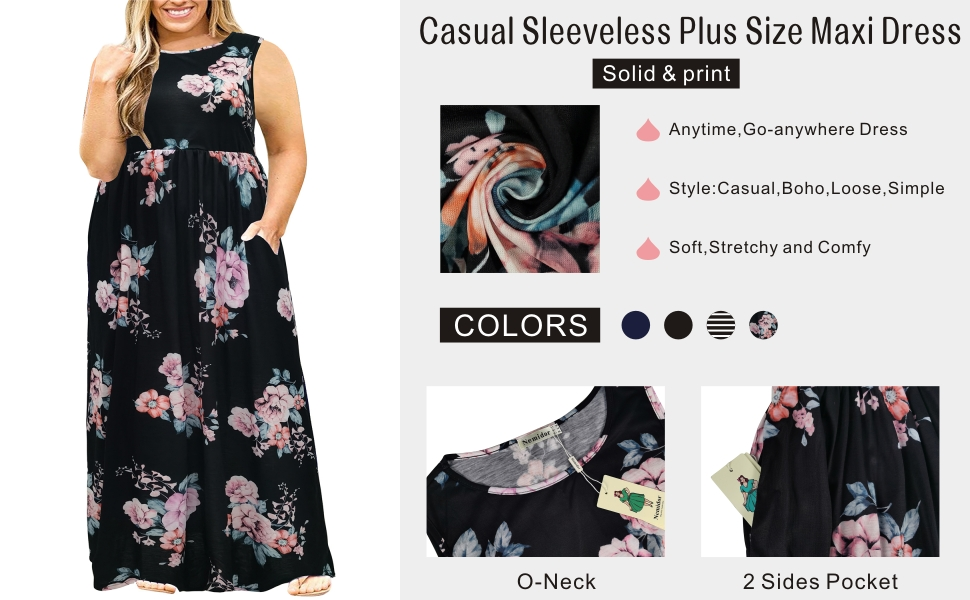 Nemidor Women Sleeveless Loose Plain Casual Plus Size Long Maxi Dress with Pockets