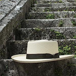 Hat fancy Straw Panama Gambler Fedora stone art