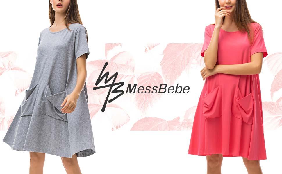 MessBebe Pijama Mujer Verano Camisetas Mujer Manga Corta T Shirt Camison Mujer Lactancia Bulsas Vestidos Dormir Algodon Redondo Suelta con Bolsillo: Amazon.es: Ropa y accesorios