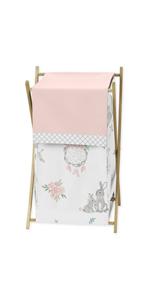 Blush Pink and Grey Woodland Boho Dream Catcher Arrow Baby Kid Clothes Laundry Hamper