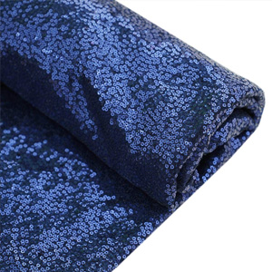 Navy Blue Sequins Fabric by The Bolt