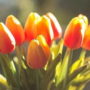 orange tulips faux flowers faix flowers lifelike