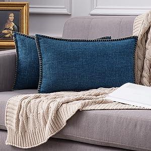 farmhouse linen pillow covers navy blue vintage retro rustic