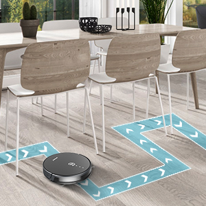 smart robot vacuum run in small corner, under table and chair