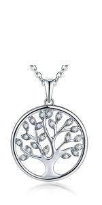 Collana con albero della vita, in argento Sterling 925, con ciondolo a forma di albero genealogico della vita