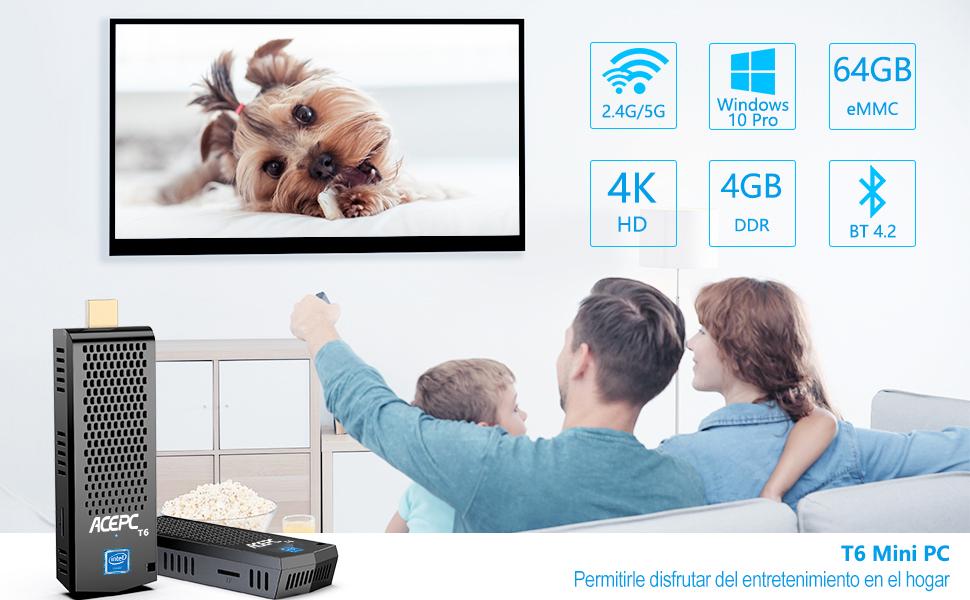 Mini PC Stick,T6 Fanless Intel Atom Z8350 Computer con Windows 10 Pro 64 bits/4 GB DDR + 64 GB eMMC/4K HD/Bluetooth 4.2/Dual WiFi/USB 3.0: Amazon.es: Informática