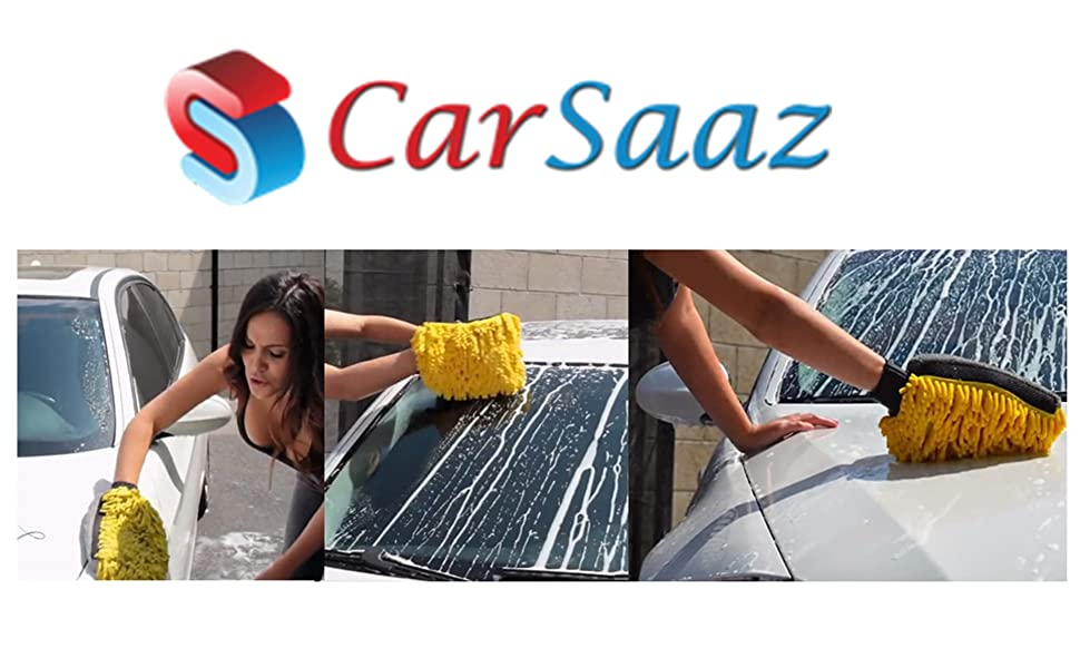 CarSaaz Extra Thick Multipurpose Cleaning Microfiber Glove Mitt with Waterproofing Layer