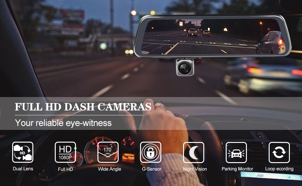 """2/"""" Auto Car Dashboard Windshield DVR Dual Lens Video Recorder Motion Detection"""