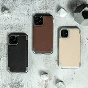 iphone 11 pro max defense prime black brown tan beige leather machined metal top bottom frame simple