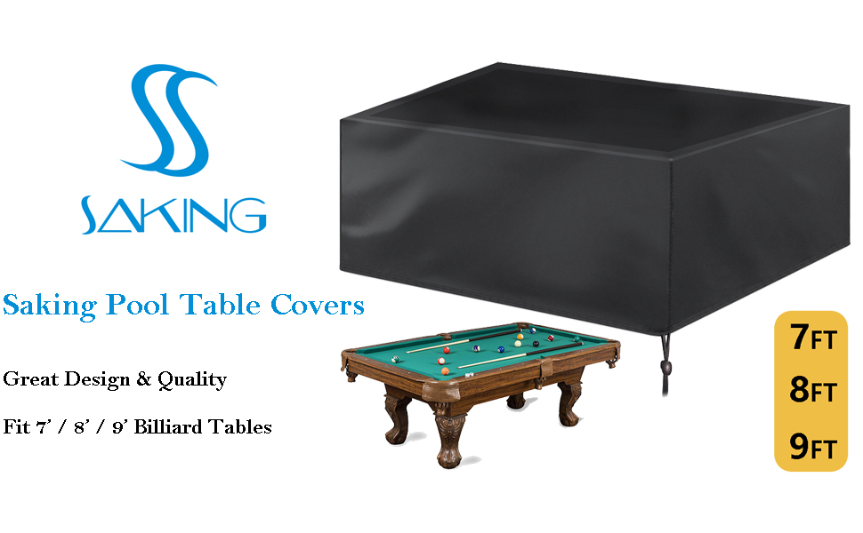 Kasla 7//8//9 ft Pool Table Cover Full Protection Black Billiard Table Covers Light Weight with Drawstring for Snooker Table