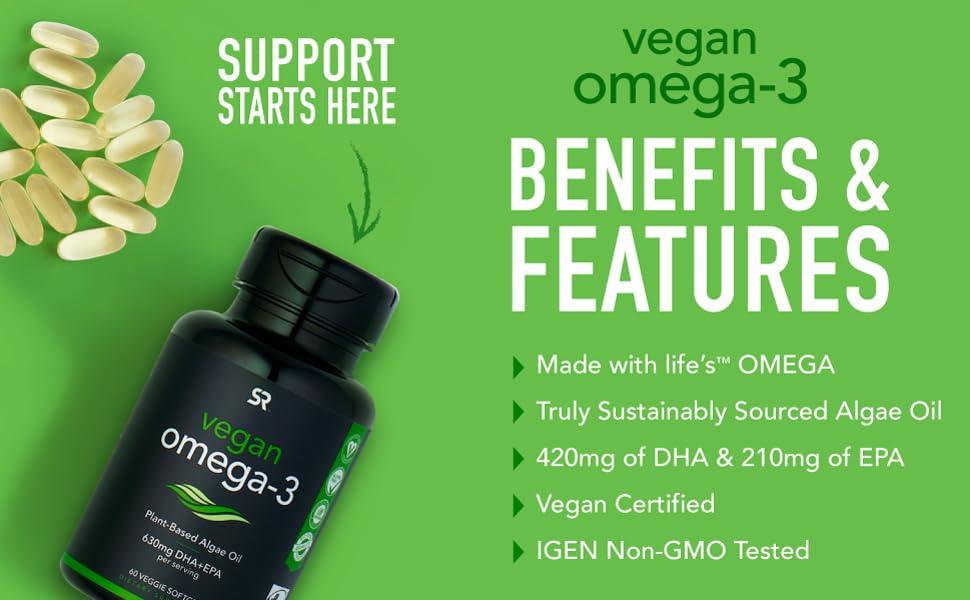 Vegan Omega Plant based algae oil DHA EPA 60 veggie softgels vegan certified