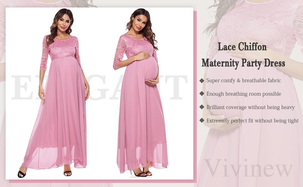 Women's maternity long dress casual pregnancy wrap maxi dress lace chiffon summer maternity clothes