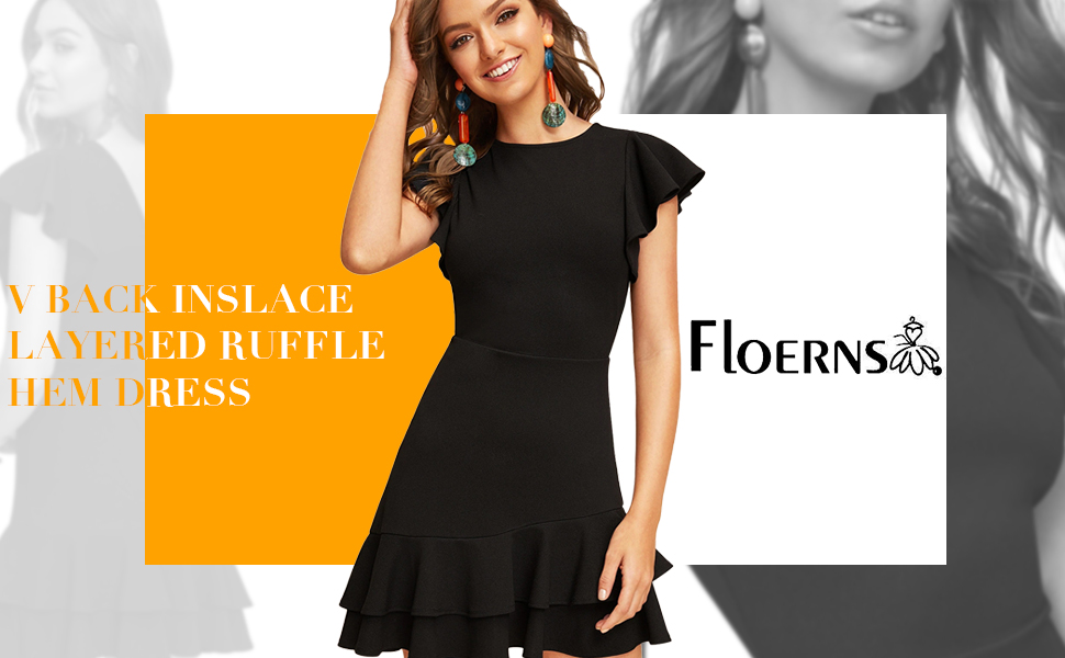 Floerns Women's V Back Inslace Layered Ruffle Hem Flutter Sleeve Dress