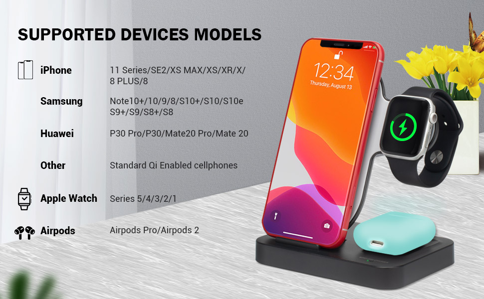 Amazon Com Wireless Charger 3 In 1 Wireless Charging Station With Qc 3 0 Adapter Fast Qi Wireless Charger Stand Dock Compatible For Apple Watch Airpods Pro 2 Iphone 11 Pro 11 Pro Max 11 Se Xr Xs X 8 8p Samsung Home