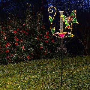 Juegoal 31.5 Inch Solar Powered Butterfly Rain Gauge