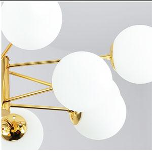 3000k Warmes Licht Globus L/üster,verstellbare Pendelleuchte Frost Glas Lampenschirm Klassisch Sputnik Kronleuchter Deckenleuchte Flur Indoor-golden 6 Lichter