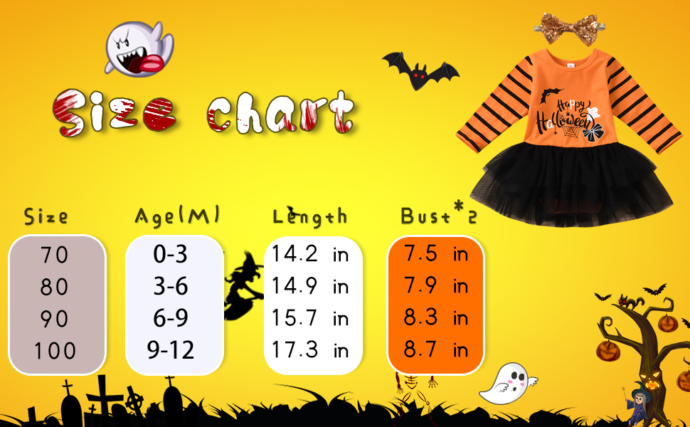 Moowu Halloween Outfits Newborn Baby Girls Long Sleeve Striped  Clothes