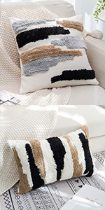 neutral boho pillow cover tufted woven pillow