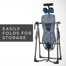 Teeter inversion table folds for storage, space saving